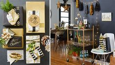 Black and gold party decorations create an updated Christmas party look, including wrapped gifts with black and gold wrapping.
