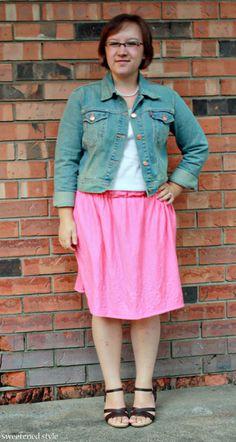 denim jacket, pink skirt, brown sandals