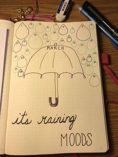 Bullet journal March mood tracker.