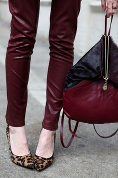 oxblood leather mixed with leopard print flats for Fall