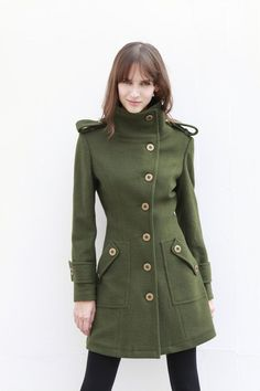Army Green Fitted Cashmere Coat Military Jacket Winter Wool Coat Women Coat - Custom Made - , via Etsy.