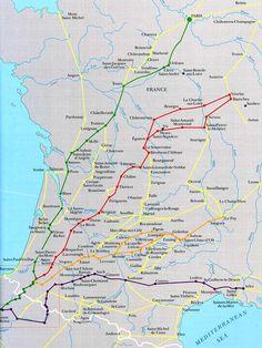 MAP: SPANISH PILGRIMS' ROADS TO SANTIAGO DE COMPOSTELA