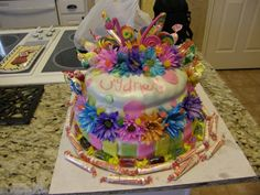 """A candy themed """"sweet 16"""" cake for Sydney!"""