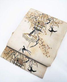 銀座今昔きもの大市 紫地に藤文様小紋×しだれ桜と燕の帯   kimono sarasa