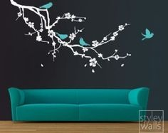 Cherry Blossom Branch and Birds - EXTRA LARGE - Vinyl Wall Decal StyleyWalls Design