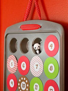 Muffin Pan Calendar This advent calendar transforms a mini muffin pan into a treasured holiday countdown. Use a pan with 24 wells—they should be about 2 inches wide. Cut twenty-four 2-1/4-inch circles from a 12x24-inch adhesive magnet sheet. Adhere them to patterned paper; cut out. Use a 1-inch circular punch for the inner circles. Number and glue them to the magnetic circles. Fill the wells with fun trinkets, notes, and candies.