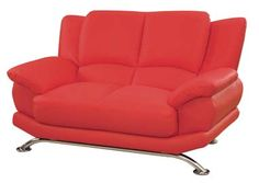 GL Love Seat Red Leather Match