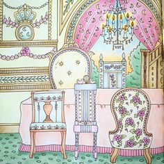 Instagram media marisumi0801 - 「ロレンツォ城のダイニングルーム」 見開き左側です。お休み中なかなか塗り絵出来なかったので、帰宅して夢中で塗り塗りしました☺️ #コロリアージュ #ホルベイン #パステル #ロマンティックカントリー #大人の塗り絵 #色鉛筆
