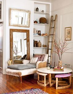 A thoughtful collection makes a cozy corner more personal. #Interiors #Design #Collections