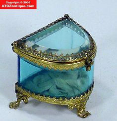 Victorian French Beveled Glass Blue Jewelry Box