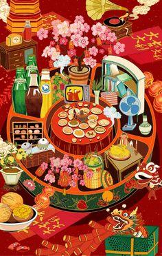 透过AR看中国,2018从未如此触手可及 - 头条搜 Chinese New Year Design, Chinese New Year Card, New Year Illustration, Digital Illustration, China Art, Illustrations And Posters, Japanese Art, Samurai, Graphic Art