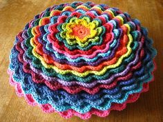 Lucy's blooming lovely crochet flower cushion!