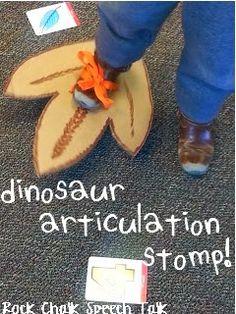 Dinosaur Stomp, a fun activity for targeting speech goals!! Repinned by Falls Speech & Language Services, LLC. www.pinterest.com/FallsSpeech