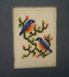Miniature Picture ~ Petit Point Kit ~ Eastern Bluebirds ~ Birds ~ Needlepoint ~ Dollhouse ~ Miniature ~ Fairy Garden ~ Kit ~ Petit Point This