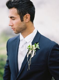 cream and green boutonniere, french blue groomsmen suit Wedding Men, Wedding Groom, Wedding Suits, Wedding Ideas, Wedding Attire, Wedding Beach, Wedding Poses, Blue Groomsmen Suits, Groom And Groomsmen