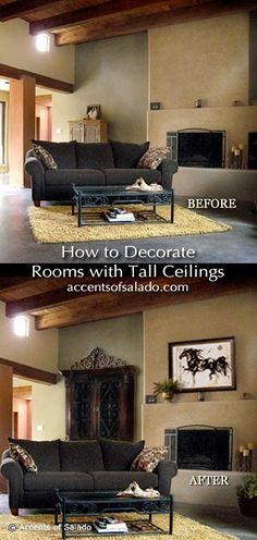 Decorating a room with high ceilings and tall walls. See how to do it. We offer 20 furniture pieces that will show you the way. accentsofsalado.com
