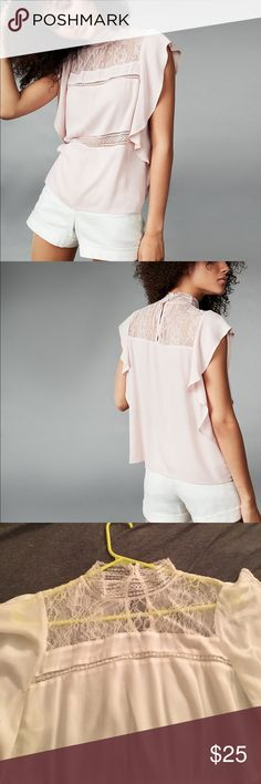 White lace flutter sleeve top White lace top from Express, Size L. The picture shows the top in pink, but this one is slightly off-white Express Tops Blouses