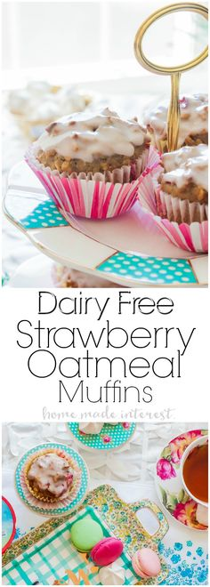 Dairy-free Strawberry Oatmeal Muffins | These easy dairy-free muffins are made with Silk Dairy-Free Yogurt Alternative so that everyone can enjoy them. This dairy-free muffin recipe is made with fresh strawberries for the perfect spring brunch recipe! #DairyFreeGoodness #ad