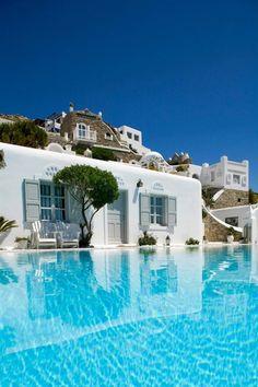 Grecian Pool House | Camille Styles | Grecian Pool House, via Greco Philia