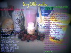 BERRY BANG SMOOTHIE! Ingredients: 2 table spoons of Forever Bee Honey, a pouch of Aloe2GO, 1 scoop of Forever Ultra Lite Shake, 2 Forever Bee Propolis, Frozen or Fresh Organic Berries, Berry Low Sugar and No Fat Soleil Diet. To order the Forever Living Products shown visit my website: www.freedom4life.myflpbiz.com