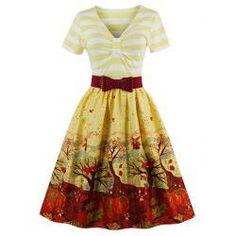 V Neck Fit and Flare Print Vintage Dress