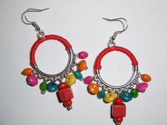Boucle d'oreilles Bohème -Idées cadeau : Boucles d'oreille par tourbillon-de-couleurs