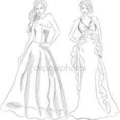 Vector Set of Fashion Top Model in a Evening Dresses — Stock Vector © olgacov #8406810