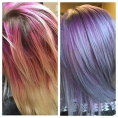 """Wow! @rosedoeshair transformed her client from """"yikes"""" to """"stunning"""" with #KenraColor! The faded pink proved impossible to remove, so she ran with it. She lifted roots to a level 8/9, feathered lightener on ends to get them to a level 10, & left the pink band. She painted 7SM + 2"""" of Violet Booster + 10vol on roots, slightly overlapping the pink. For the ends, she painted 10SM + a dot of Violet Booster + 10vol up midstrand to where the pink ended & melted the colors together. Processed 30…"""