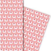 Herziges Elefanten Geschenkpapier nicht nur für Babys (4 Bögen 32 x 48cm), rosa