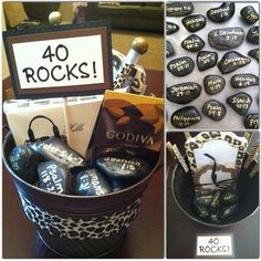 Neat Idea: A bucket of encouragement and fun for a milestone birthday. Oil-based Sharpie pen writes well on a stone surface. They selected 40 inspirational scripture references to usher in an exciting new decade. 40 Birthday Gifts, 40th Birthday For Women, 40th Bday Ideas, 40th Birthday Quotes, 40th Birthday Decorations, 90th Birthday Parties, Man Birthday, Birthday Cakes, Birthday Scripture
