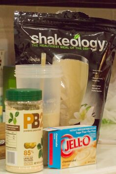 Healthy NutterButter Shake Almond milk, ice, scoop of vanilla shakeology, 2 TBS PB2 and 2 tsp SF/FF Cheesecake pudding mix. Tastes like a NutterButter!! Healthy dessert, PB2, Shakeology, Shakeology Recipe Did you know you can order a sample pack of Shakeology through me?  http://teambeachbody.com/beckyboyd