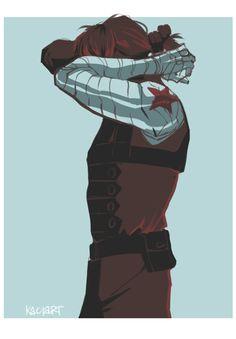 Winter Soldier limited palette fanart by kaciart