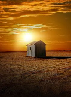Small house under the sunset lights