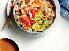 Chicken Noodle Bowl with Peanut-Ginger Sauce | Make the dressing and prep the veggies the day before, and dinner will be on the table in minutes.