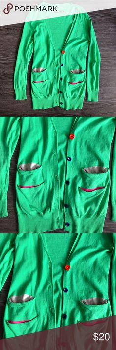 Basic house Green sweater - worn once, in very good condition  - has 4 pickets, colorful buttons and back tie detail  💛Product color may slightly vary due to photographic lighting sources or your monitor settings  ✅I DO love OFFERS 😆 ❎No returns  ❎No trades  💖Feel welcome to check out everything else in my closet, and bundle them together ☺️ basic house Sweaters Crew & Scoop Necks