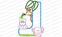 Letter B Jungle-Safari-Zoo Applique Embroidery Design contains pieces from our zoo animal category and is optimized to fit this 5 x 7 configuration. Adding a child's name would be easy with a larger hoop or a second hooping. This design is available in every number and every letter. If the one you want is not listed on…