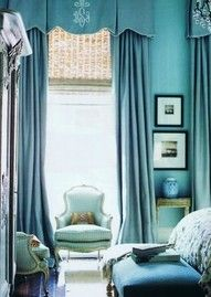 the blue room, literally.  Blue on blue on blue - i love it! #blue walls #blue furniture #blue curtains
