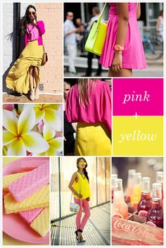 Pink and yellow Colour Combinations Fashion, Color Combinations For Clothes, Fashion Colours, Color Combos, Spring Summer Trends, Spring Fashion Trends, Spring Summer Fashion, Pantone Colour Palettes, Pantone Color