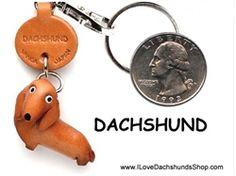 Dachshund Leather Key Chains Short Hair