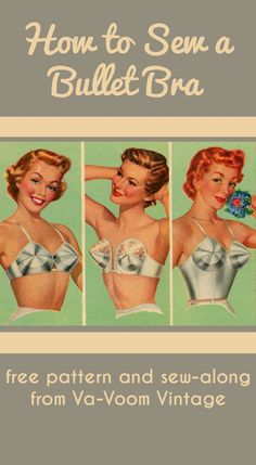 free pattern and sew-along for sewing a 1950s bullet bra from va-voom vintage