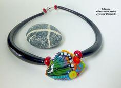 Handmade Lampwork Beads & Glass Jewelry, Muranoglasschmuck, handgefertigte Glasperlen, Schmuck aus Glas Kette Botanik