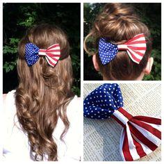 American Flag Hair Bow by PosiesandPattycakes on Etsy, $7.00