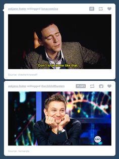 Jeremy Renner(hawkeye) and Tom Hiddleston(Loki) lol funny! 9gag Funny, Hilarious, Funny Memes, Dc Memes, Marvel Memes, Marvel Funny, Jeremy Renner, Loki Laufeyson, Chris Hemsworth
