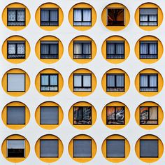 This exterior space contains repeating yellow circles around the windows; the yellow circles have repitition Blog Architecture, Architecture Classique, Classical Architecture, Beautiful Architecture, Photo D'architecture, Building Facade, Facade Design, Interior Exterior, Exterior Design