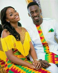 Dearest Lovebirds, What a way to style yourselves with Kente combined with Velvet? Have you seen people dress gorgeously with Kente and Velvet? Trust us, we know what makes you look cute. African Inspired Fashion, Latest African Fashion Dresses, African Print Dresses, African Print Fashion, Africa Fashion, African Dress, Ghana Fashion, Latest Fashion, Couples African Outfits