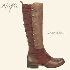 The Naya Apollonia is a rich suede and leather knee-high boot with an elegant equestrian style. Contrasting fall boot colors include cordovan red, taupe and black available at Nordstrom.