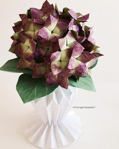 274 best nlm origami passion flowers images on pinterest origami dual color origami hydrangea in origami vase mightylinksfo