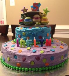 Easy Ninja Turtle birthday cake.  No artistic ability required.