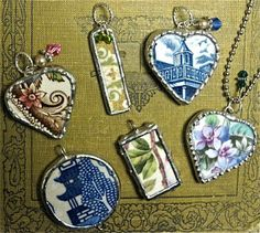 DIY your photo charms, compatible with Pandora bracelets. Make your gifts special. Make your life special! The Mag Rag. Broken china turned into pendants Broken China Crafts, Broken China Jewelry, Recycled Jewelry, Handmade Jewelry, Recycled Glass, Earrings Handmade, Jewelry Crafts, Jewelry Art, Soldering Jewelry