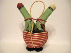 Vintage Italian Glass Oil Vinegar Cruet Set Hand Crafted in Italy Lobeco